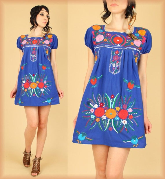 ViNtAgE Blue Mexican Embroidered MiNi Dress