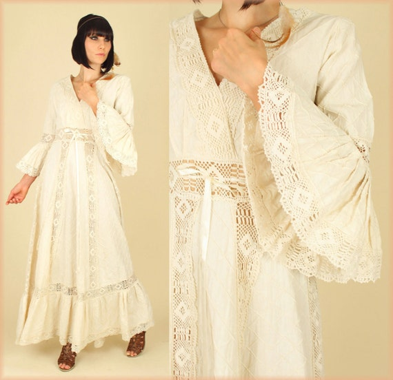 Vintage 1970 39 s cotton crochet lace angel wing mexican for Angel wings wedding dress