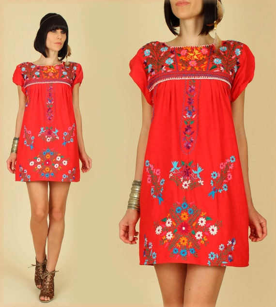 ViNtAgE 70's Red Floral Mexican Hand Embroidered MiNi Dress Tunic