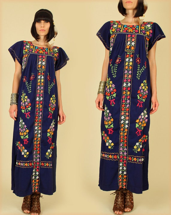 ViNtAgE 60's 70's Floral Mexican Embroidered Maxi Dress Tunic