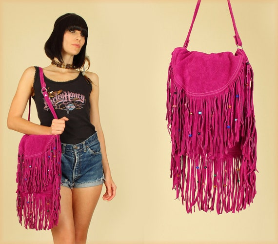 ViNtAgE 1960's RARE Woodstock Era FRINGE Beaded Satchel Handbag