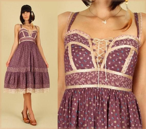 ViNtAgE 70's Gunne Sax Cotton HiPPiE Calico Sun Dress