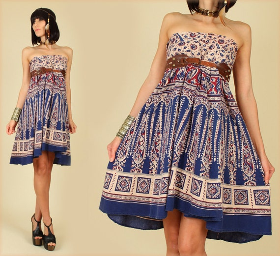 ViNtAgE 70's India Peacock Print Cotton Wrap MiNi Dress Festival Skirt