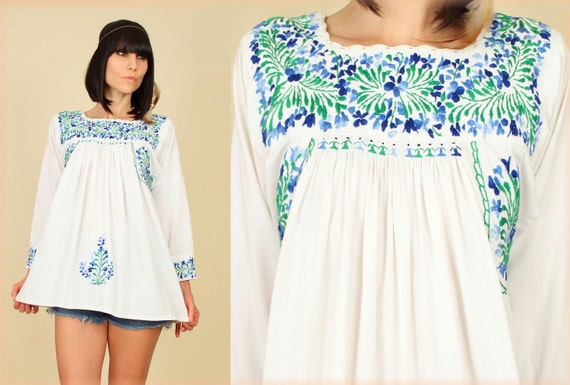 ViNtAgE 60's 70's HiPPiE Oaxacan Embroidered Tunic Tent Top