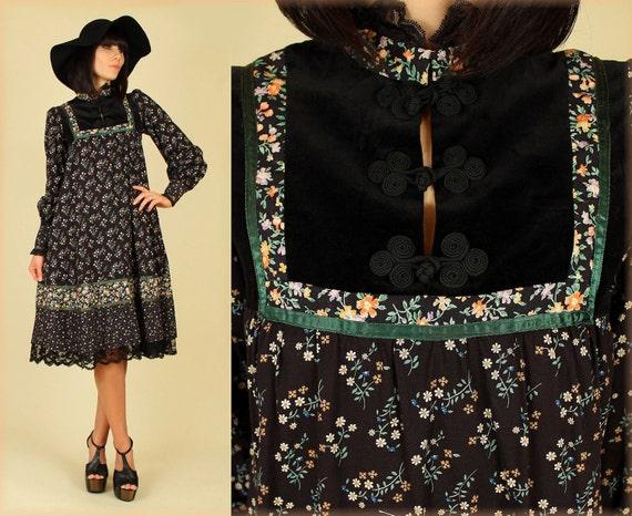 ViNtAgE 70's Gunne Sax Black Velvet Calico Romantic Poet Slv. Dress s/m