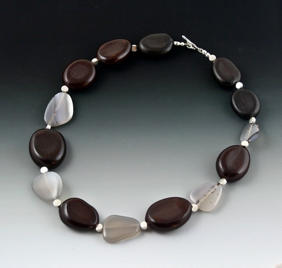 Jatoba - Natural Seed from the Rainforest -  and Agate Stooen  Necklace - Earthly and Beautiful