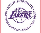 Custom Lakers Team Return Address Stamp - Any TEAM Available Self Inking NBA Stamper Makes a Great Gift