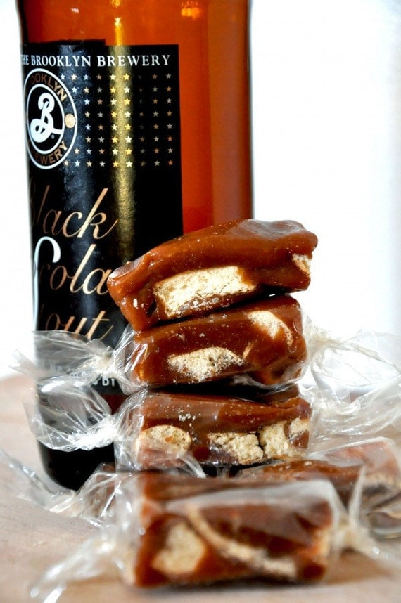 Gift Box of Gourmet Chocolate Stout Beer Pretzel Caramel Candies- Perfect Mothers Day Gift