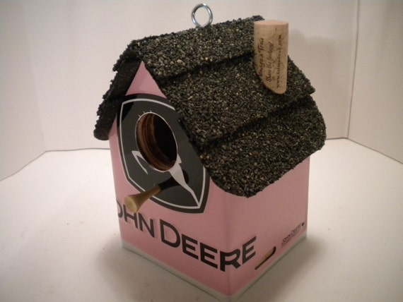 Pink John Deere......License Plate Birdhouse