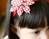 Red Gingham Bloom Headband