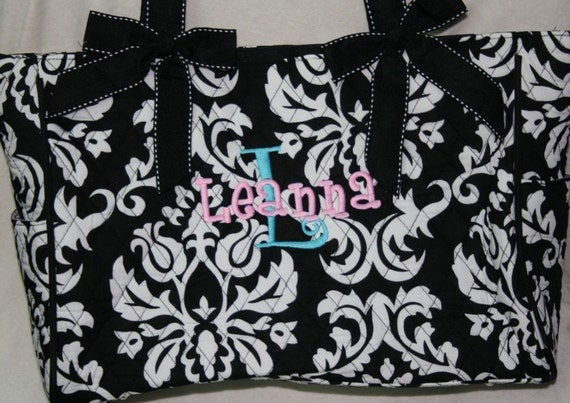Quilted DAMASK Diaper Bag...PERSONALIZED Free....Black and Whtie Damask Large Diaper Bag with Changing Pad