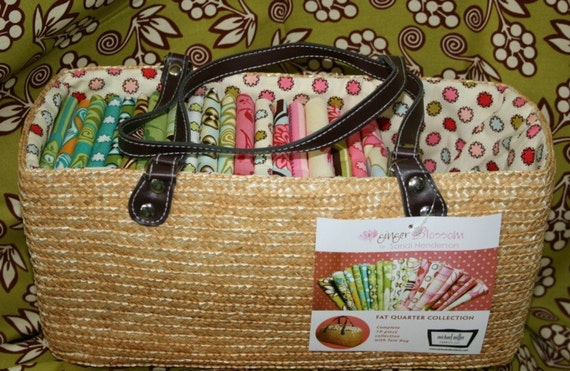 Ginger Blossom Fat Quarter Collection SET and Purse Tote Bag By Sandi Henderson and Michael Miller / NEW / Great Quilting Gift
