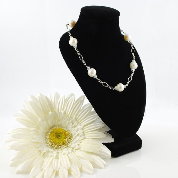 Marissa's Hand Wired Freshwater Pearl Floating Necklace (White Pearls)