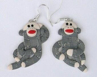Sock Monkey dangly earrings