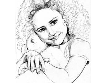 Original Illustration Teddy and Child