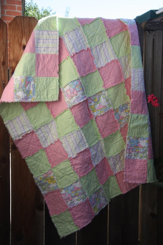 SALE Pastel Circus with Stripes Flannel Rag Quilt SALE