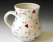 Porcelain Mug with Red Clovers