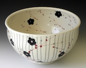 Porcelain Serving Bowl with Stripes and Blossoms