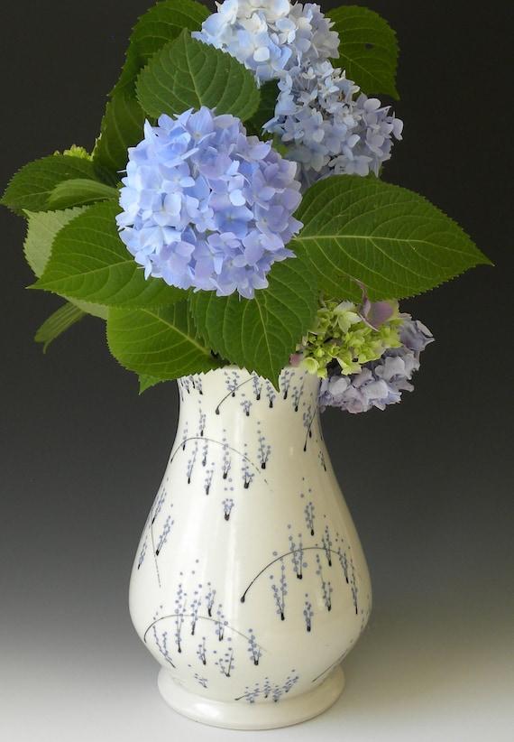Large Porcelain Vase with Blue Floral Grasses