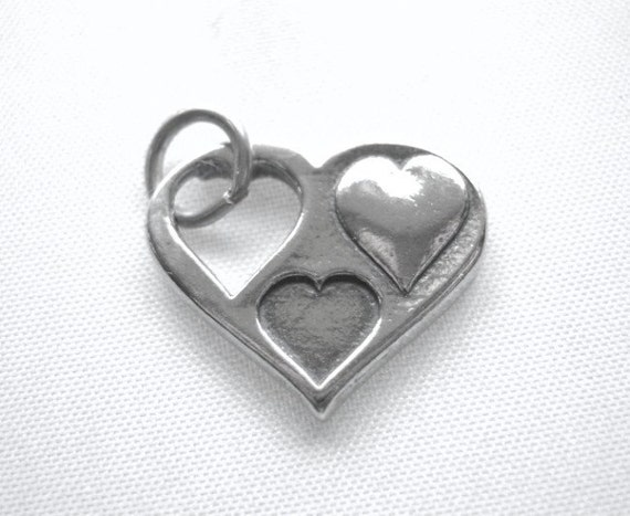 Multi Heart Charm Sterling SIlver