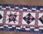 Table Runner Red White Blue Patriotic  Free Shipping