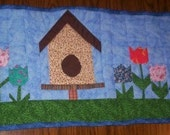 Table Runner Quilted Great for Spring, Easter or Summer 13 inches X 31 1/2 inches  Free Shippping..