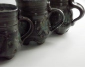 Ceramic Mug/Footed/fern leaf/Iron Blue semi matt SPECIAL ORDER For kristin