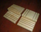 LOT OF 4 WOODEN SOAP DISH