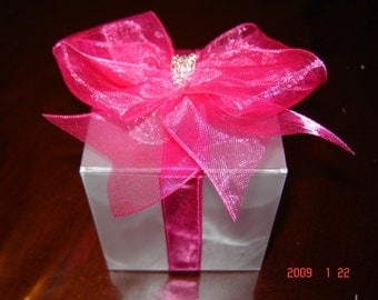 Wedding Favor Box. Hot Pink Favour Box.