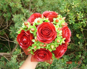 Wedding Bouquet  Bridal Clay Red Rose and Hypericum Berries Bridal Bridesmaid Bouquet