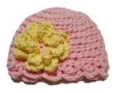 Crochet baby hat, Preemie girl hat, newborn baby girl hat, pink premmie hat, ready to ship preemie hat, kids hat