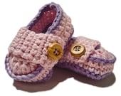 Crochet Baby Booties, Crochet Baby shoes, Handmade baby booties, Little girl shoes, Baby loafers, Pink baby booties