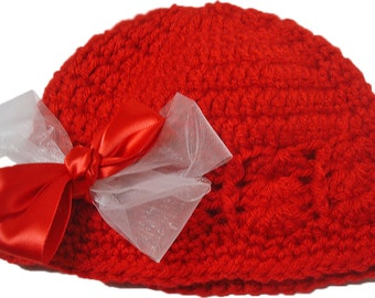 Crochet baby hat, hat Hairbows, hairclips, bows, photo prop, kids hats, ready to ship, little girl hat, flapper hat, Hats for kids