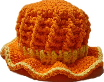 Crochet baby hat, crochet sun hat, baby girl hat, little girl orange hat, Orange sun hat, Crochet baby girl hat, 3 to 6 mos ready to ship