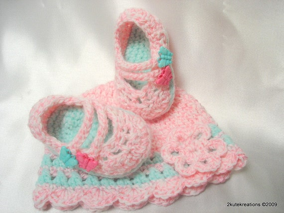 Baby Mary Janes and Hat Butterfly Kisses Set