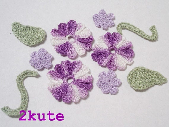 Crochet Flower Applique, Crochet applique, crochet flowers, Scrapbooking embellishments, Purple flowers