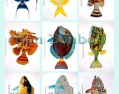 Digital Collage Sheet of Tropical Fish Images - INSTANT DOWNLOAD