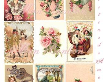 Digital Download of 9 Vintage Valentine Postcards  Amore  AtC sized - DIY Printables - INSTANT DOWNLOAD