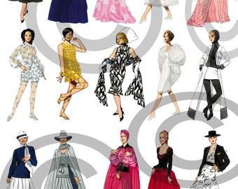 More Fashion-istas Images Digital Collage Sheet Clip Aart 1950-2000 era - DIY Printable - INSTANT DOWNLOAD