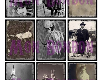 Ditigial Collage Sheet of Creepy Vintage Photos of Halloween Costumes - DIY You Print - INSTANT DOWNLOAD