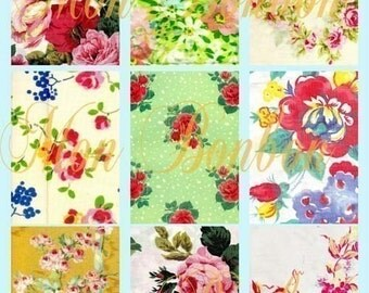 Vintage Shabby Fabric Swatches AtC size Digital Download Collage Sheet 2.5 x 3.5 - DIY Printable - INSTANT DOWNLOAD