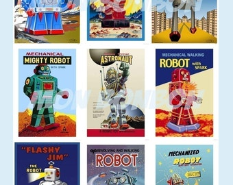 Vintage Retro Robots Digital Download Collage Sheet - INSTANT DOWNLOAD