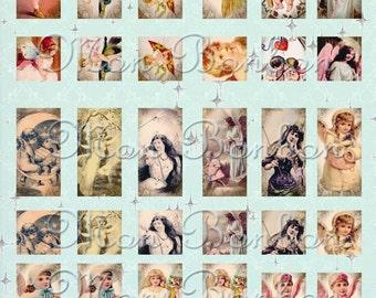 Digital Vintage Victorian Fairies, Angels and Cherubs Ephemera Collage Sheet  - INSTANT DOWNLOAD
