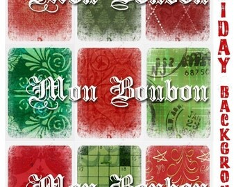Holiday Backgrounds Collage Sheet - Digital Download ATC size 2.5 x 3.5  No. 1105 - INSTANT DOWNLOAD