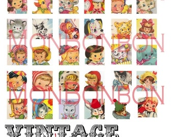 Digital Download 36 Vintage Retro Children's Greeting Cards Collage Sheet 1x1 Inchies - INSTANT DOWNLOAD