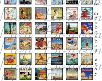 Digital Vintage Travel Posters Collage Sheet Inchies 1x1 - INSTANT DOWNLOAD