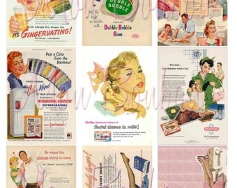 Digital Collage Sheet of Vintage Retro Advertising Images for your artwork, atc, aceo, cards, tags, crafts - INSTANT DOWNLOAD