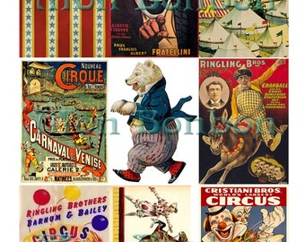 Digital Collage Sheet of Vintage Circus Images - INSTANT DOWNLOAD