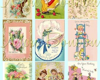 Digital Collage Sheet of Vintage and Retro Greeting Card and Postcard Images - INSTANT DOWNLOAD