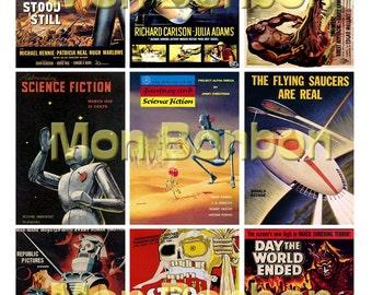 Vintage Retro SciFi B Movie Posters Digital Collage Sheet - DIY Printable - INSTANT DOWNLOAD